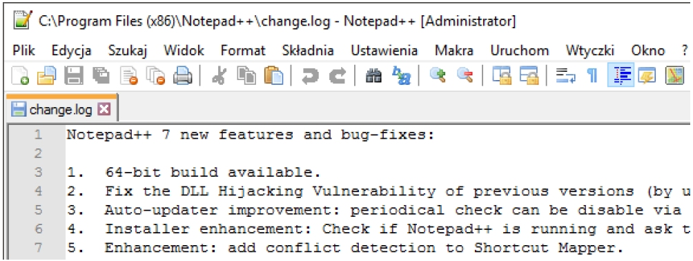 Notepad++ log zmian