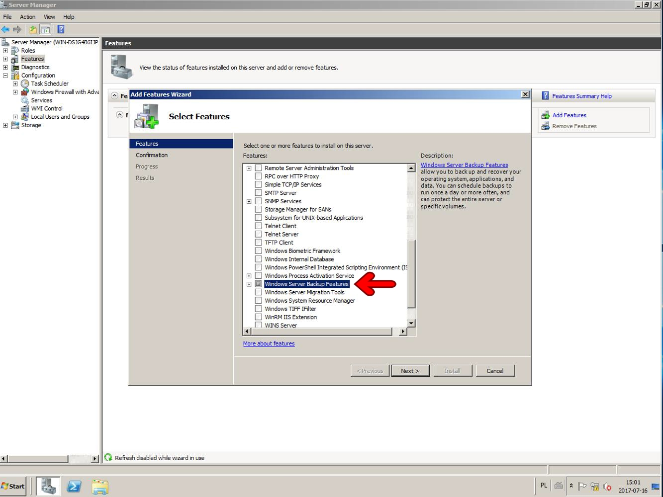 Windows Server backup features 2008