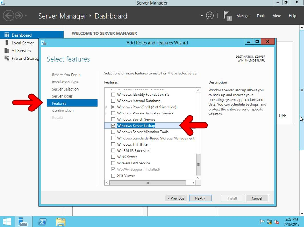 Windows Server backup features 2012